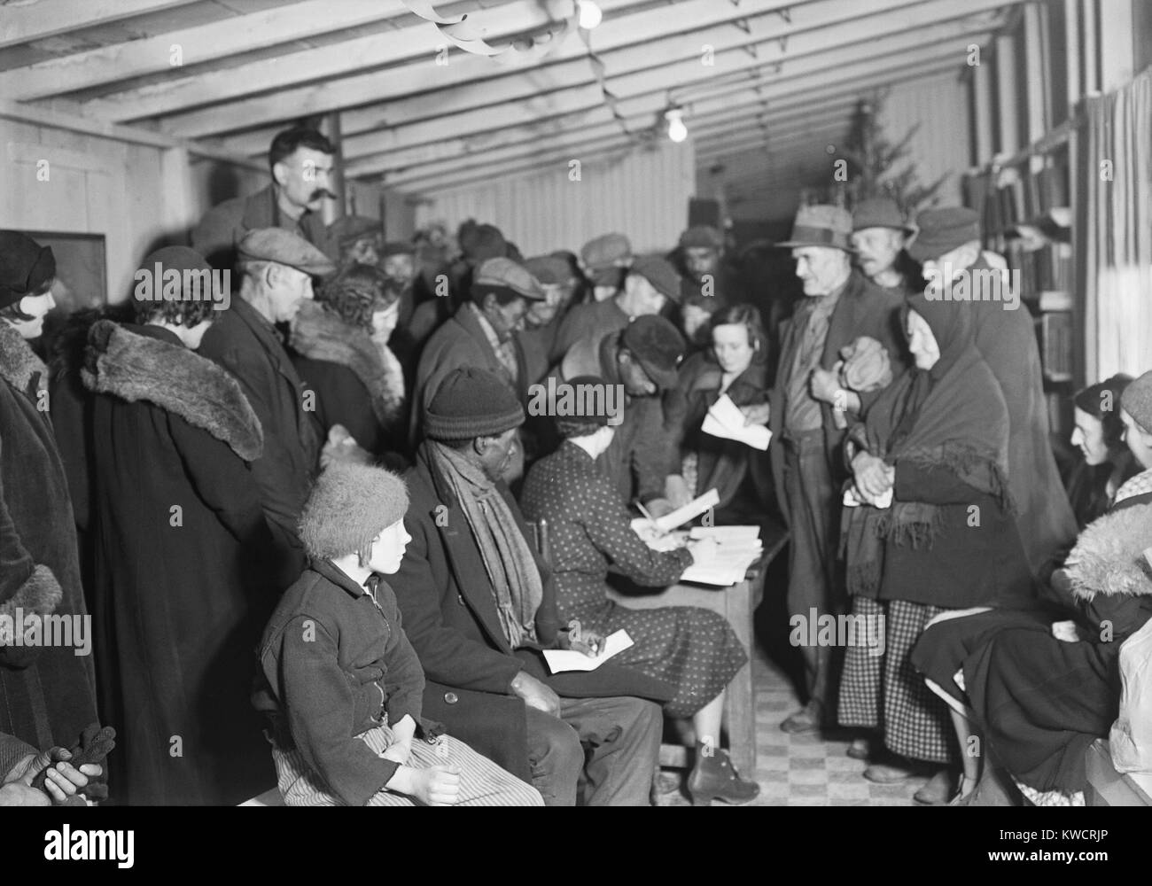 Unemployed miners attending meeting of the Workers Alliance Council, March 19, 1937. The Workers' Alliance Council, - Stock Image