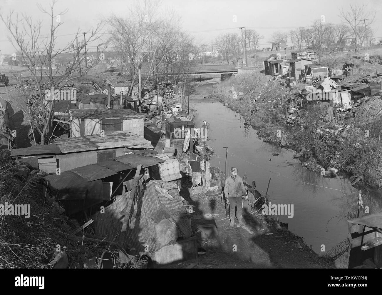 Bachelor shacks in outskirts of Paterson, N.J., 1936. Homes of about 25 men, some of them unemployed silk mill workers. - Stock Image