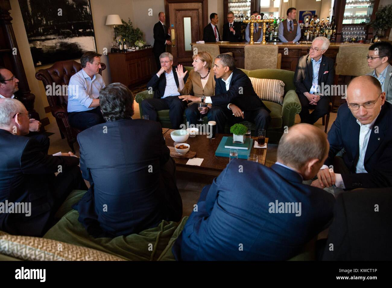 Leaders during the G8 Summit at Lough Erne Resort in Enniskillen, Northern Ireland. June 17, 2013. Counterclockwise Stock Photo