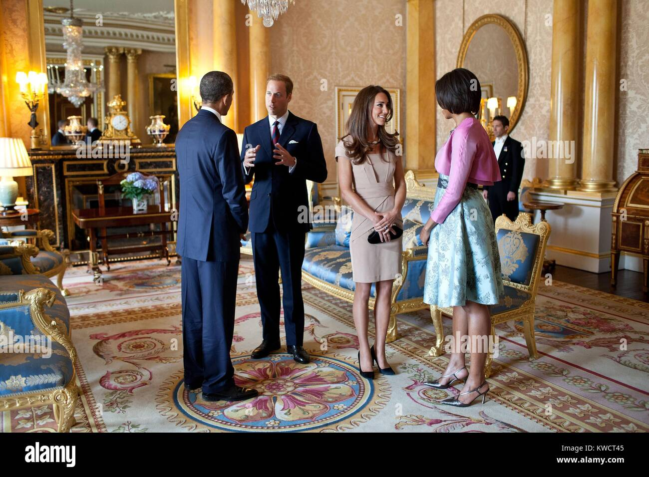 President Barack Obama and First Lady Michelle Obama with the Duke and Duchess of Cambridge. In the 1844 Room at - Stock Image