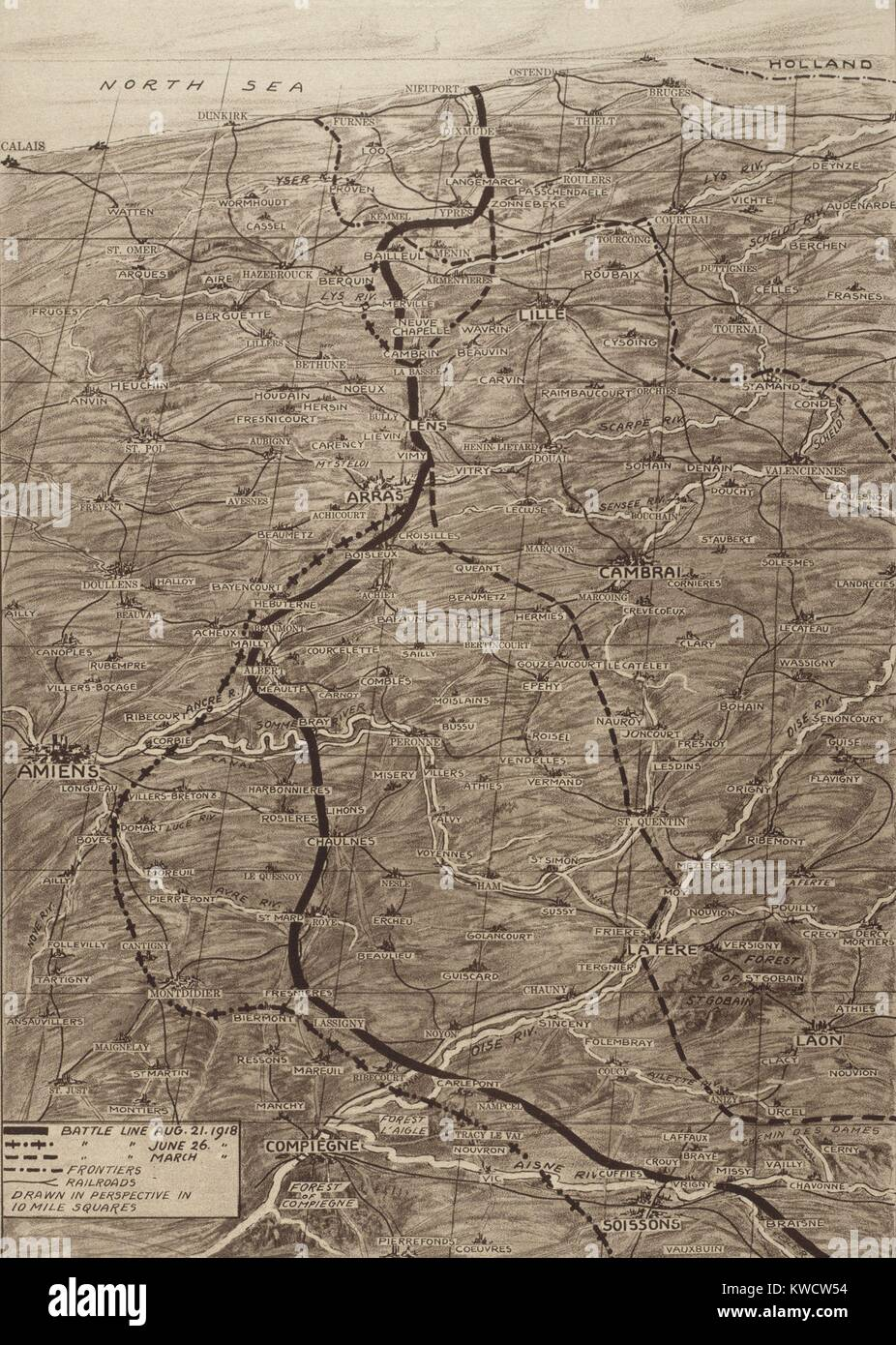Map of the Western Front during the