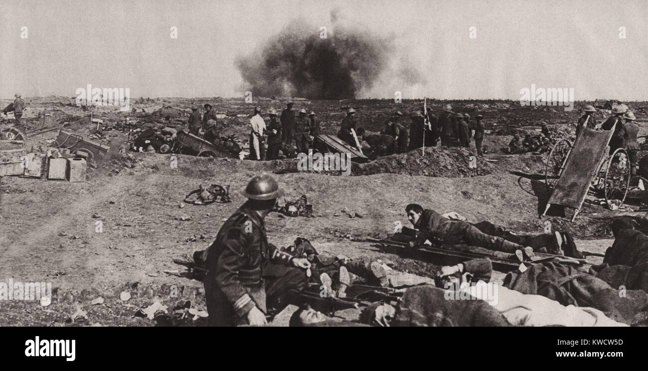 World War 1. The bursting of a Jack Johnson 40 cm shell just beyond a Canadian field dressing station on the Western - Stock Image