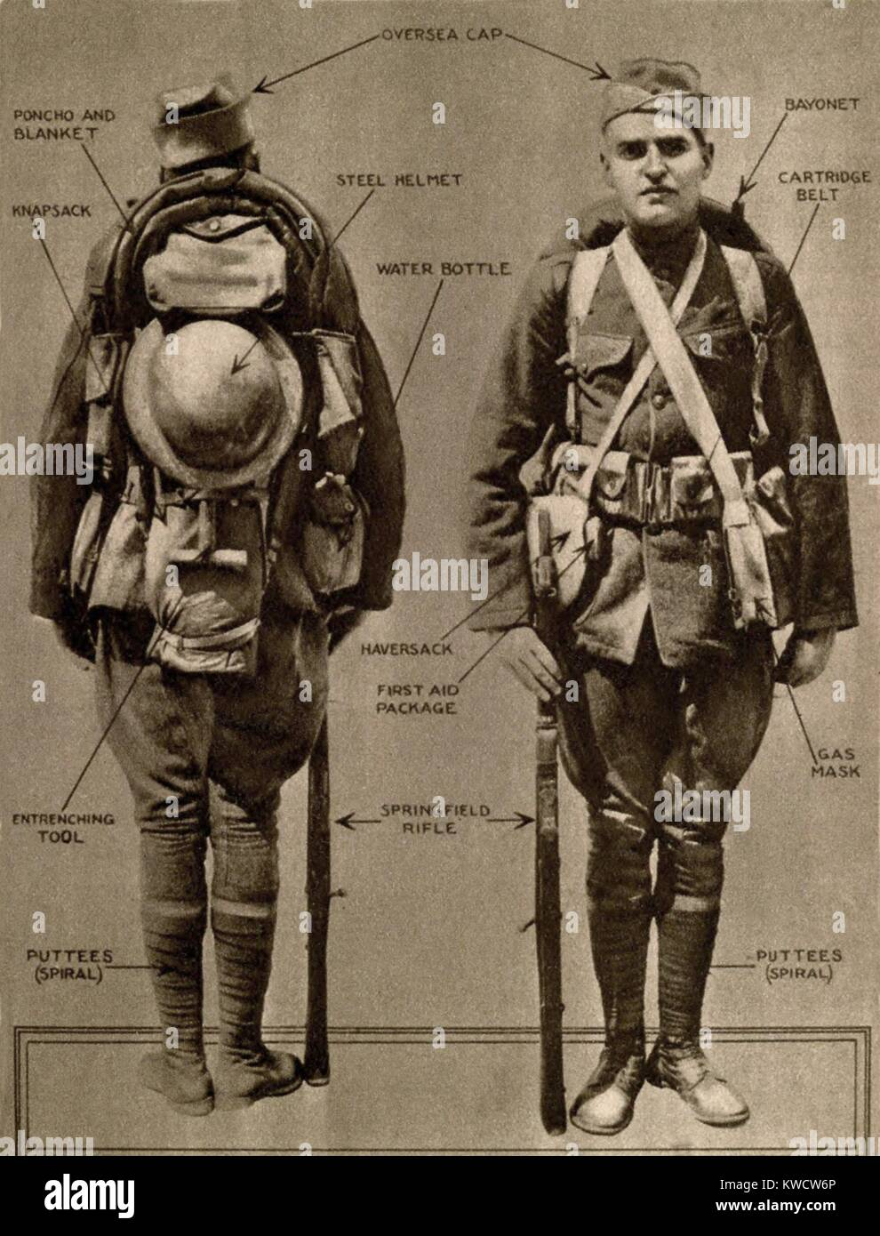 World War 1. United States Infantryman when fully equipped for field service. Ca. 1917. (BSLOC_2013_1_192) - Stock Image