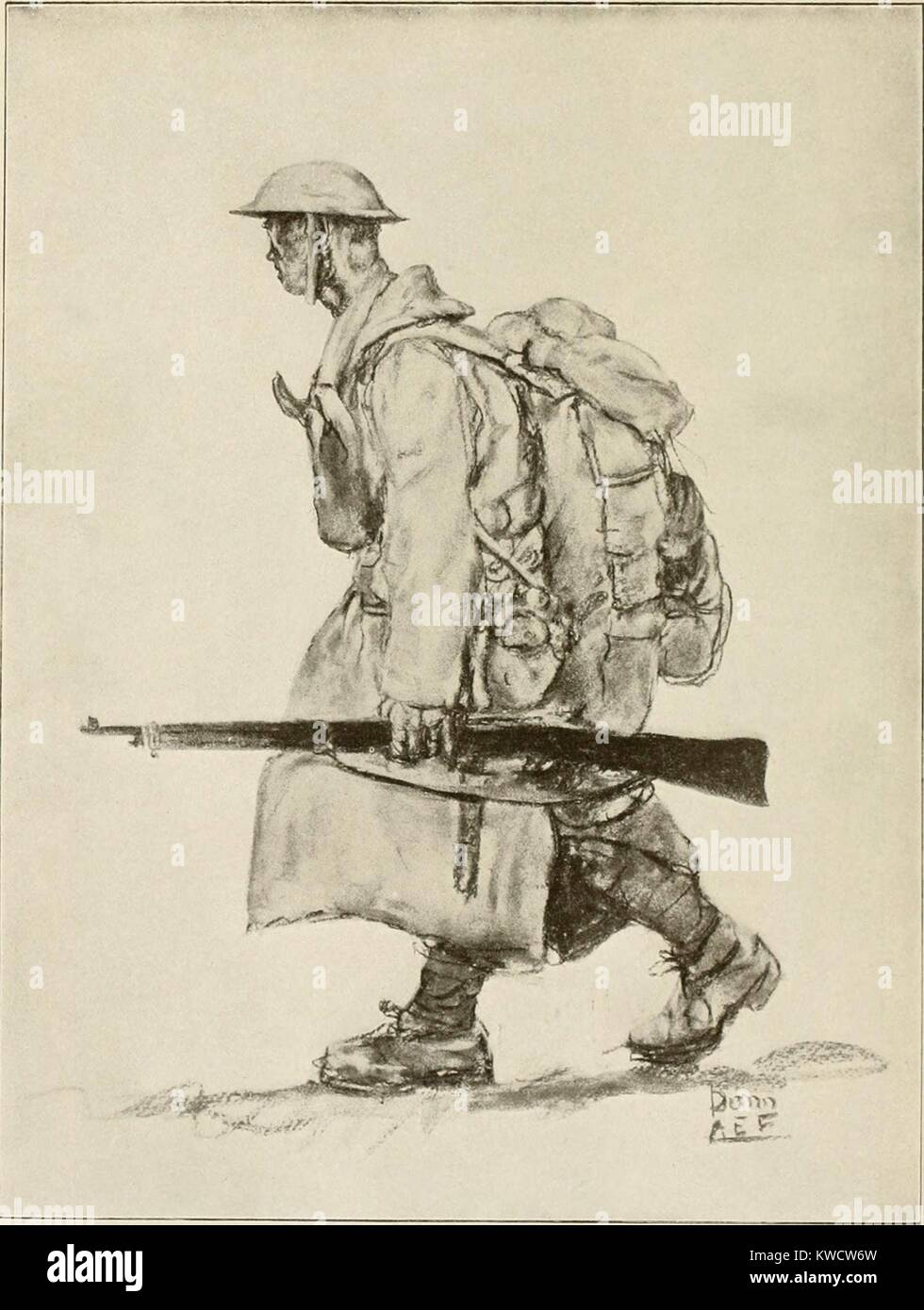 World War 1. United States Army engineer when fully equipped. Ca. 1917. (BSLOC_2013_1_193) - Stock Image