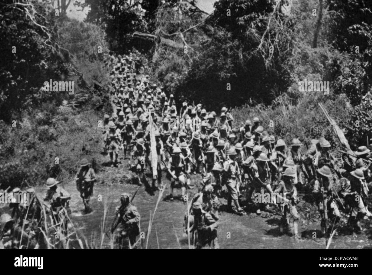 World War 1 in Africa. British African troops on the march to Kilimanjaro. The Operation began on Feb. 25, 1916 - Stock Image