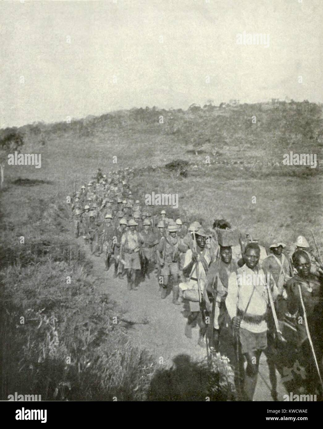 World War 1 in East Africa. British and Empire African soldiers on the march in 1917. They captured 2000 German - Stock Image