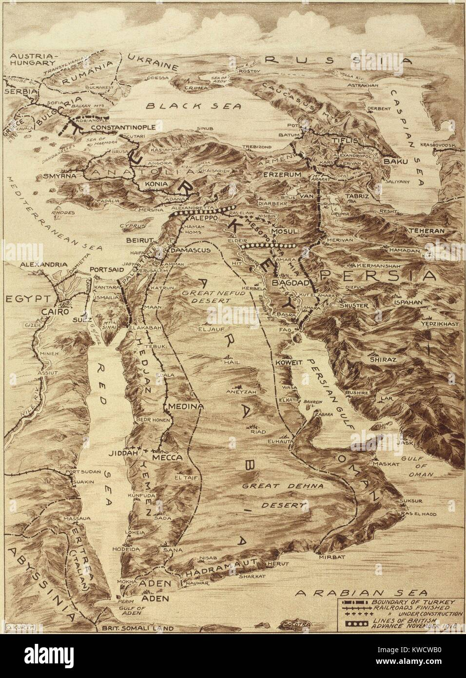 First World War Map of the Middle East. When defeated Turkey lost its Ottoman Empire, Britain and France implemented - Stock Image
