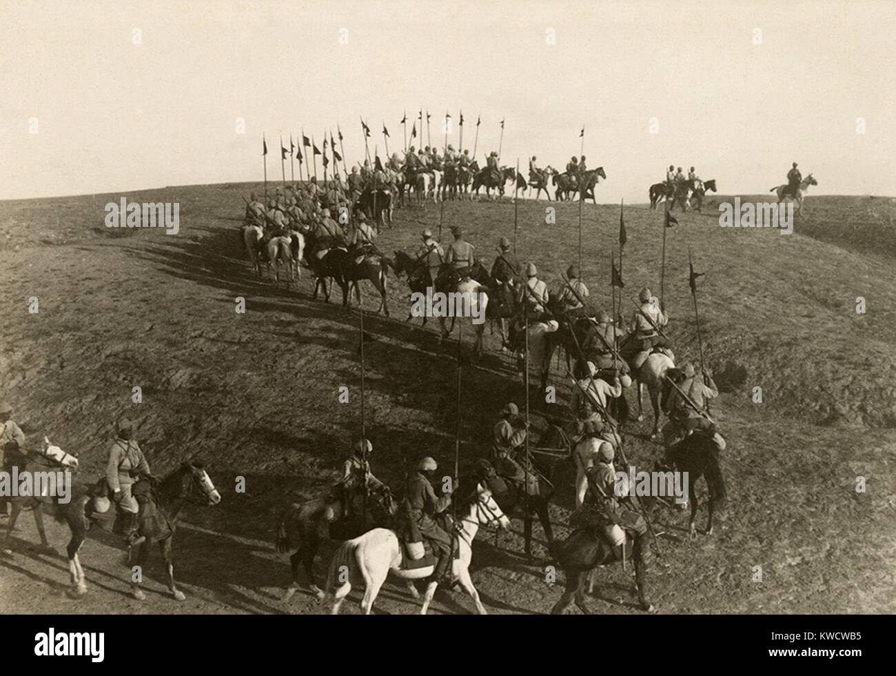World War 1 in the Middle East. Turkish lancers west of Beersheba. The Battle of Beersheba (also called the Third - Stock Image