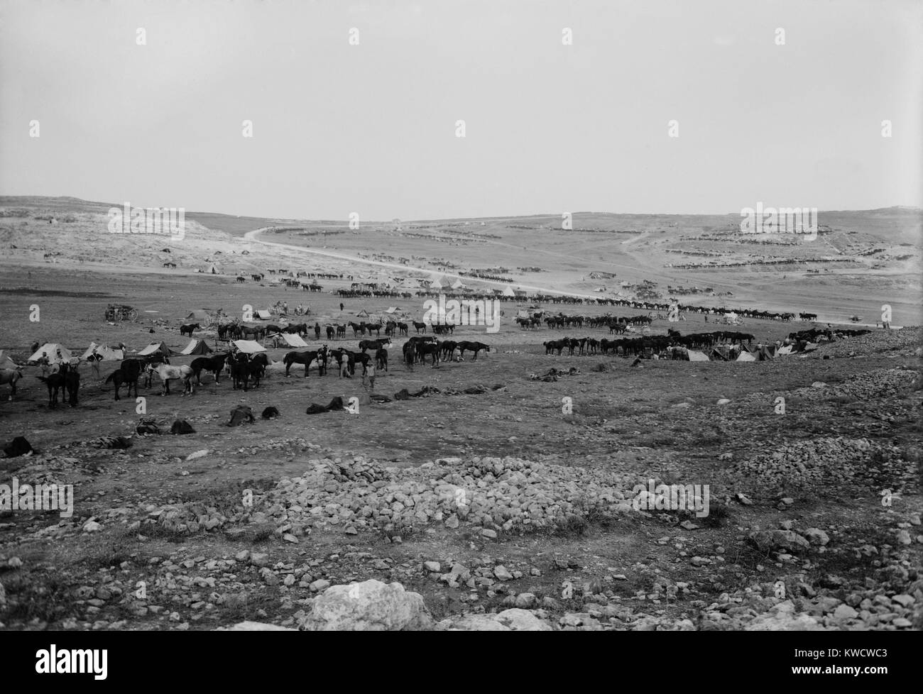 World War 1 in the Middle East. Australian light horse cavalry at the Tell el-Ful battlefield, east of the Nablus - Stock Image
