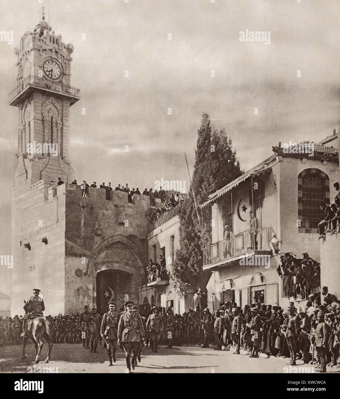 World War 1 in the Middle East. General Edmund Allenby, entering Jerusalem through the Jaffa Gate. He walked in - Stock Image