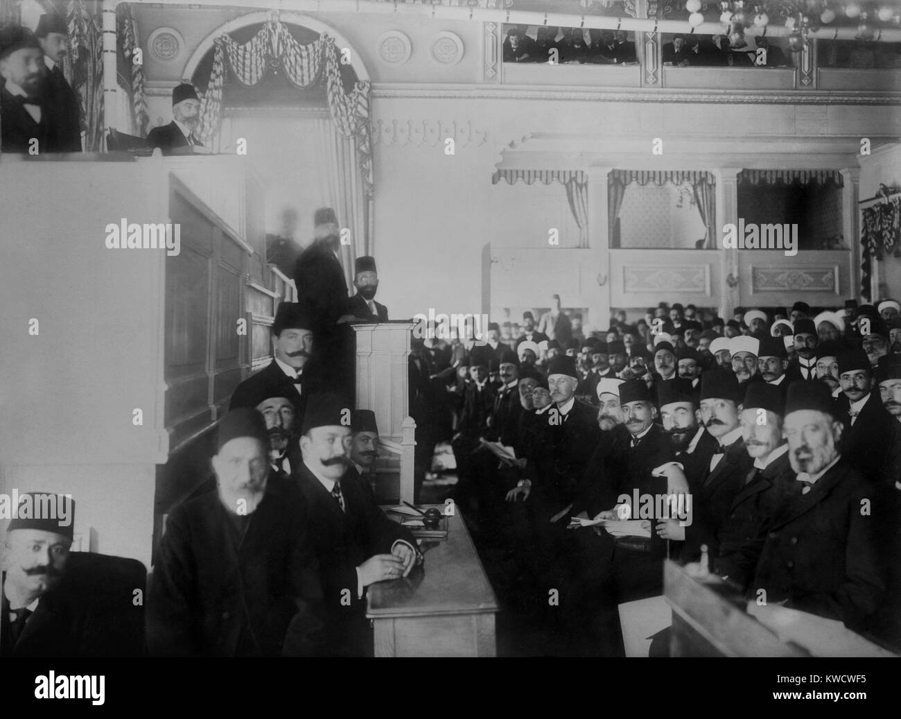 Turkish parliament in session near the end of the short second constitutional era 1908