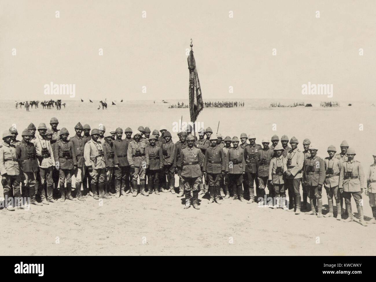 Victorious Ottoman officers of the First Battle of Gaza, March 1917. They repulsed the British Egyptian Expeditionary - Stock Image