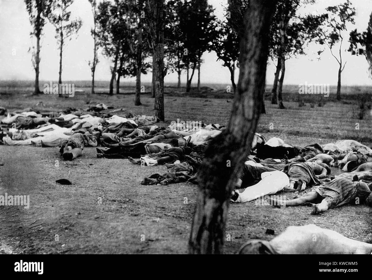 Armenians killed during the Armenian Genocide. Massacre, starvation, and exhaustion destroyed the larger part of - Stock Image
