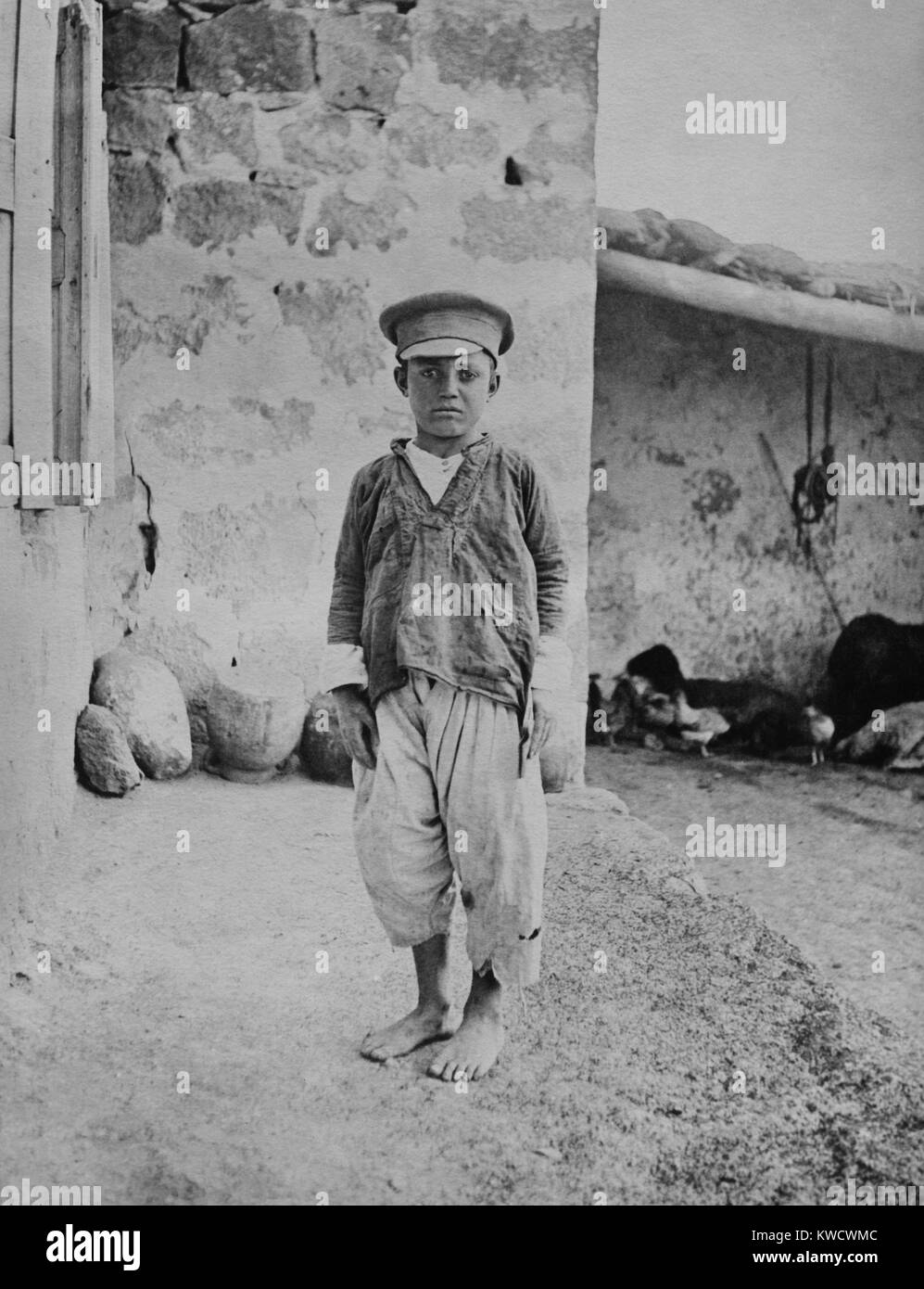Armenian genocide victim, an orphan boy, was the only survivor of family of 15. 1915-1920 (BSLOC_2017_1_165) - Stock Image