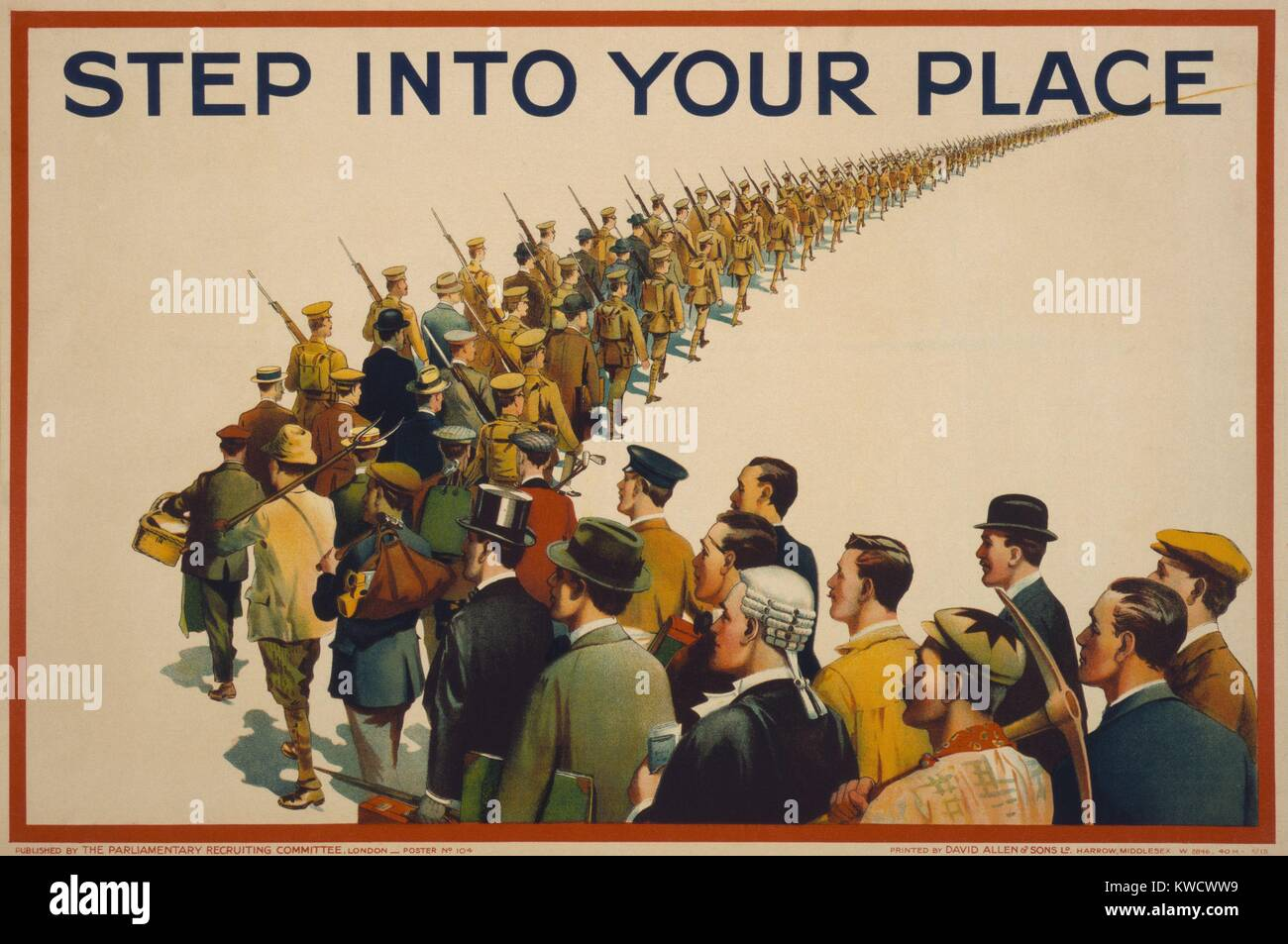 STEP INTO YOUR PLACE, reads a British World War 1 recruiting poster, 1915. A column of soldiers marches into the - Stock Image