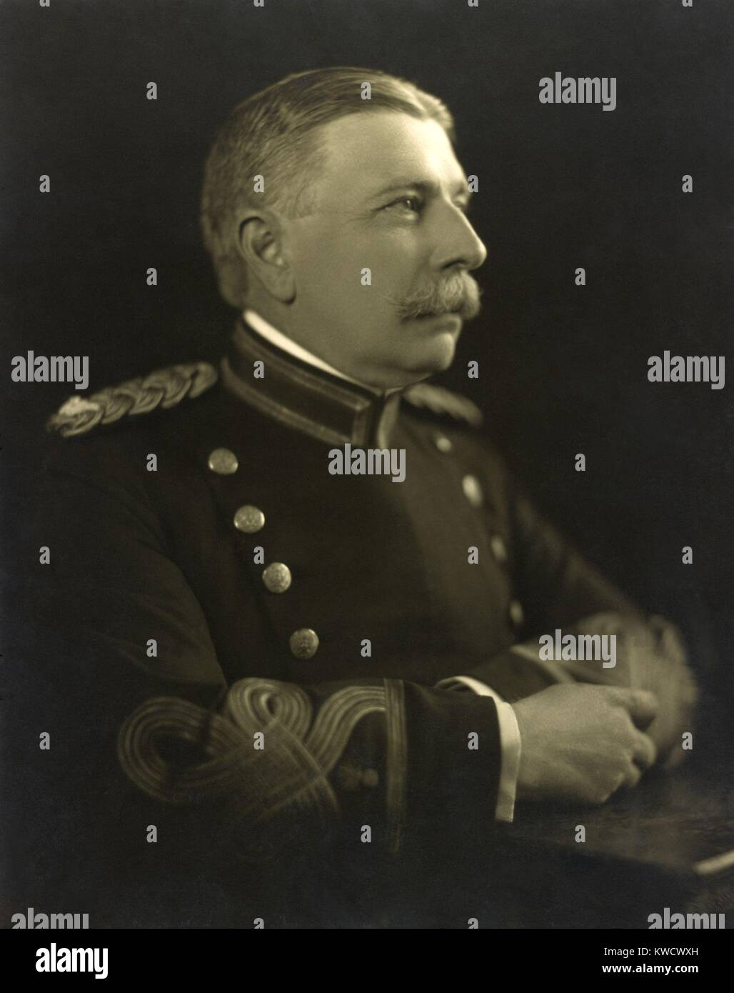 John Taliaferro Thompson, inventor of the Thompson submachine gun. The weapon was patented in 1920, and was favored - Stock Image