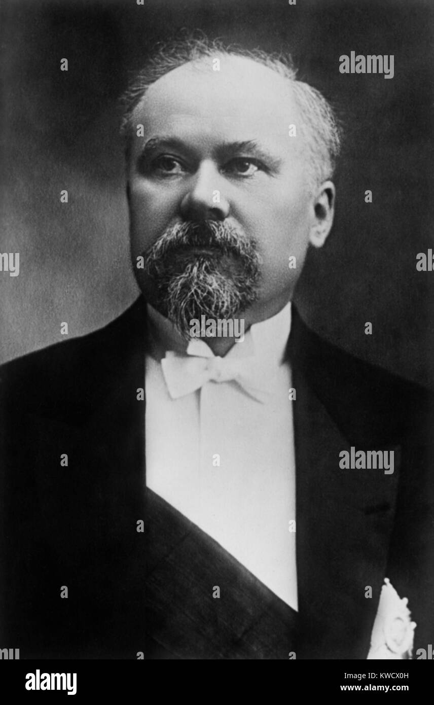 Raymond Poincare in 1914, when he served as President of France from 1913-20, during World War 1. After the war - Stock Image