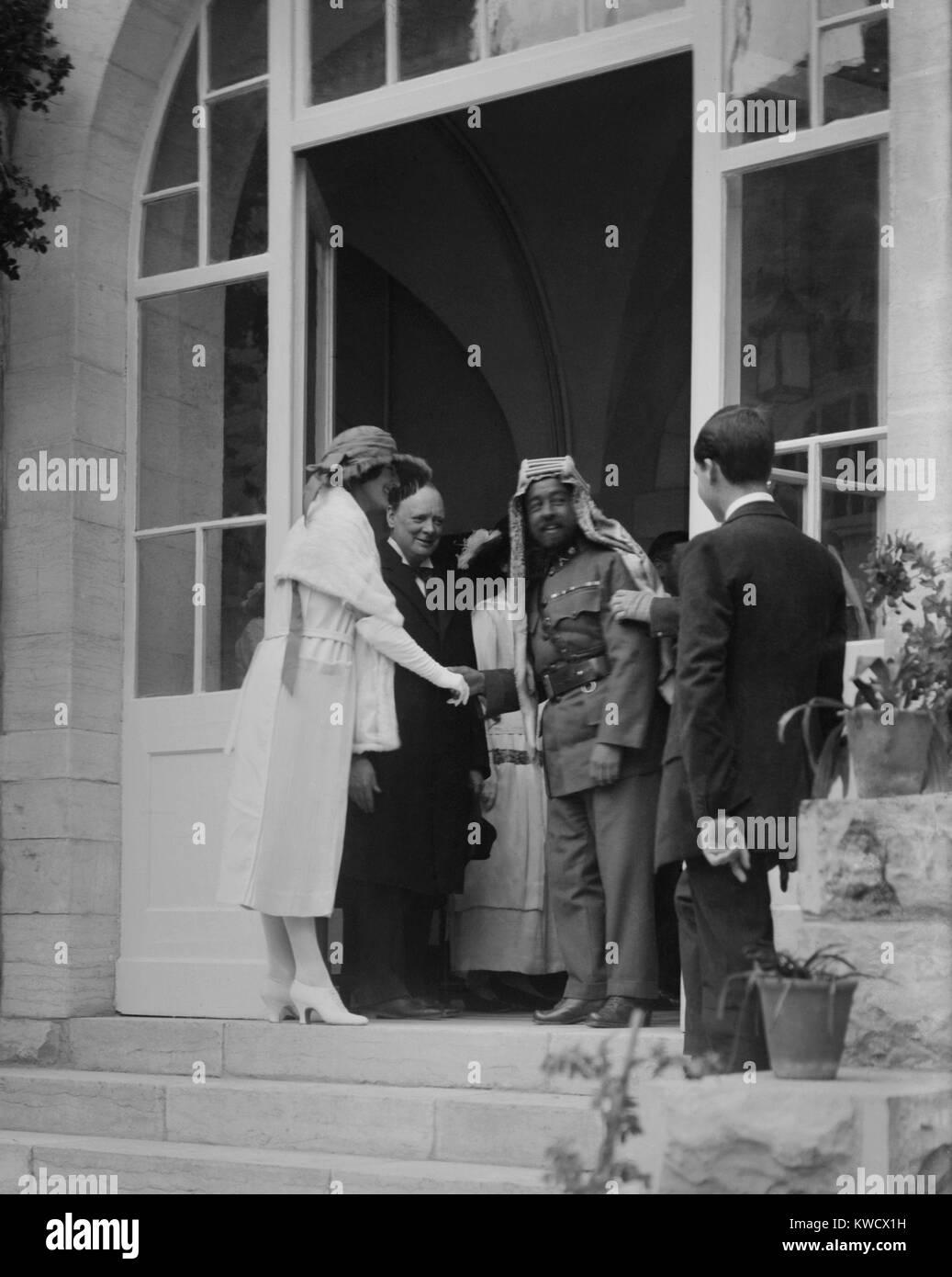 Emir Abdullah of Transjordan shaking hands with Clementine Churchill, Jerusalem, Mar. 28, 1921. Winston Churchill, - Stock Image