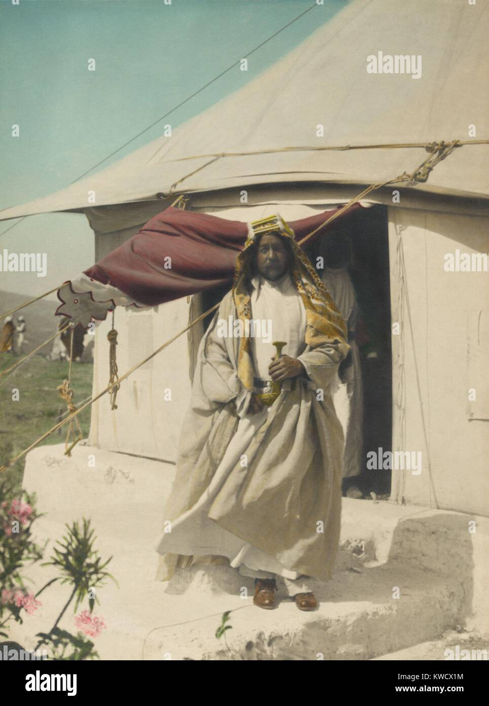 Emir Abdullah of Trans-Jordan in front of his tent, April 1921. He was hosting a meeting of Arabs, Bedouins, and - Stock Image