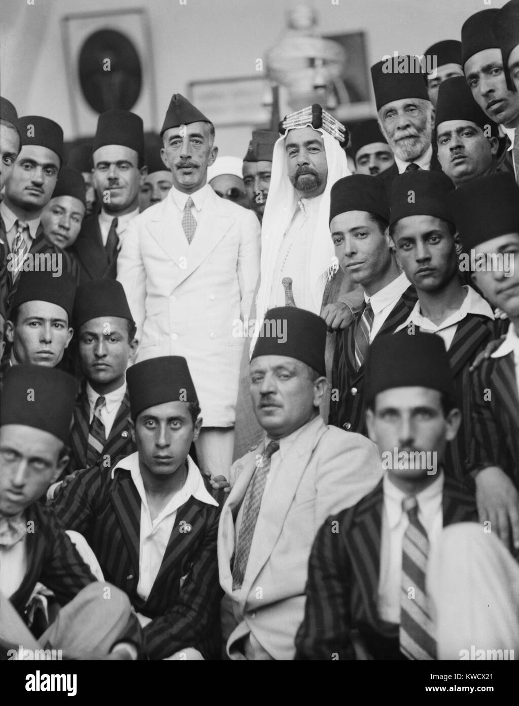 Feisal of Iraq and Emir Abdullah of Jordan, rulers of lands separated from the Ottoman Empire. In 1933, the brothers - Stock Image