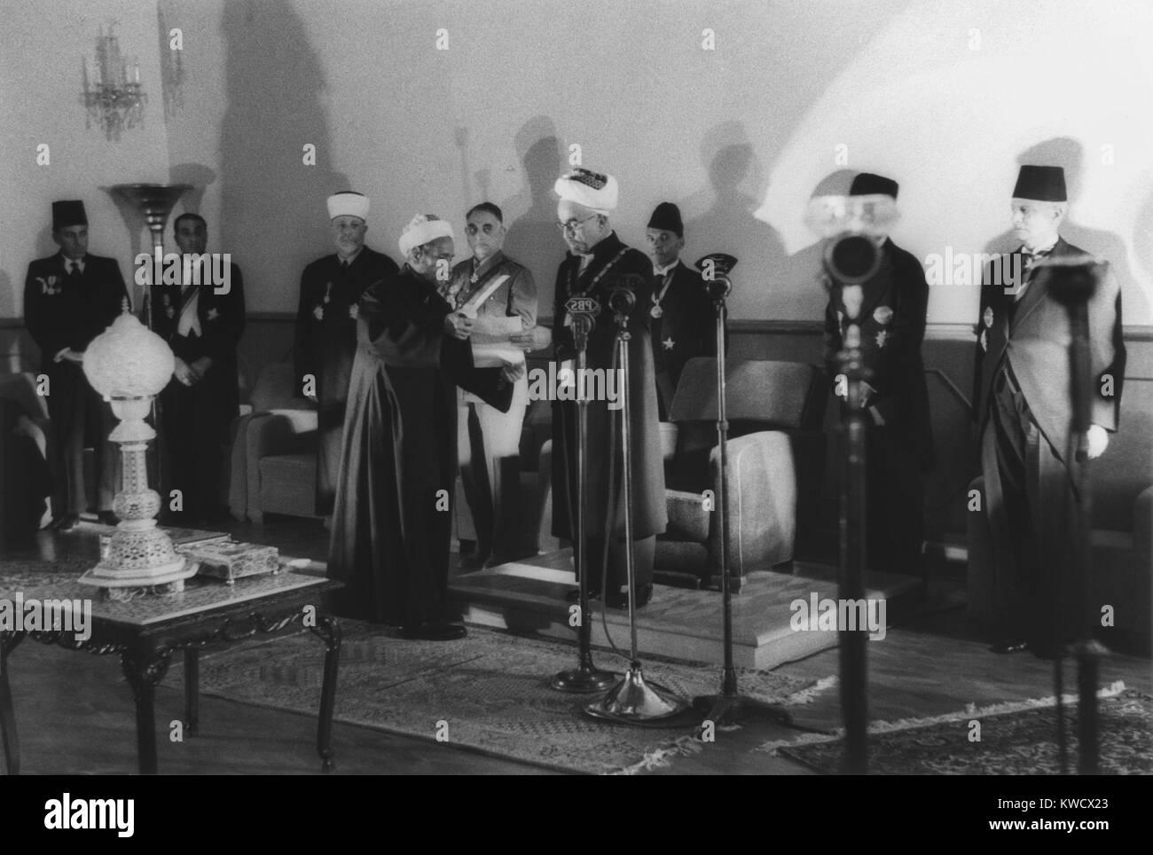 Emir Abdullah of the British Mandate, Trans-Jordan, became King Abdullah I on May 25, 1946. His great grandson, - Stock Image