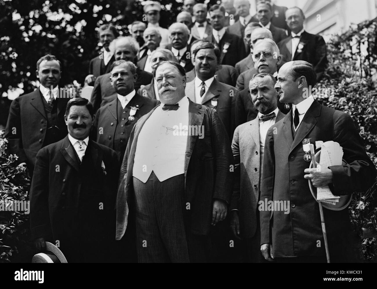 President William Howard Taft with the Republican Notification Committee at the White House, 1912. He won the nomination Stock Photo