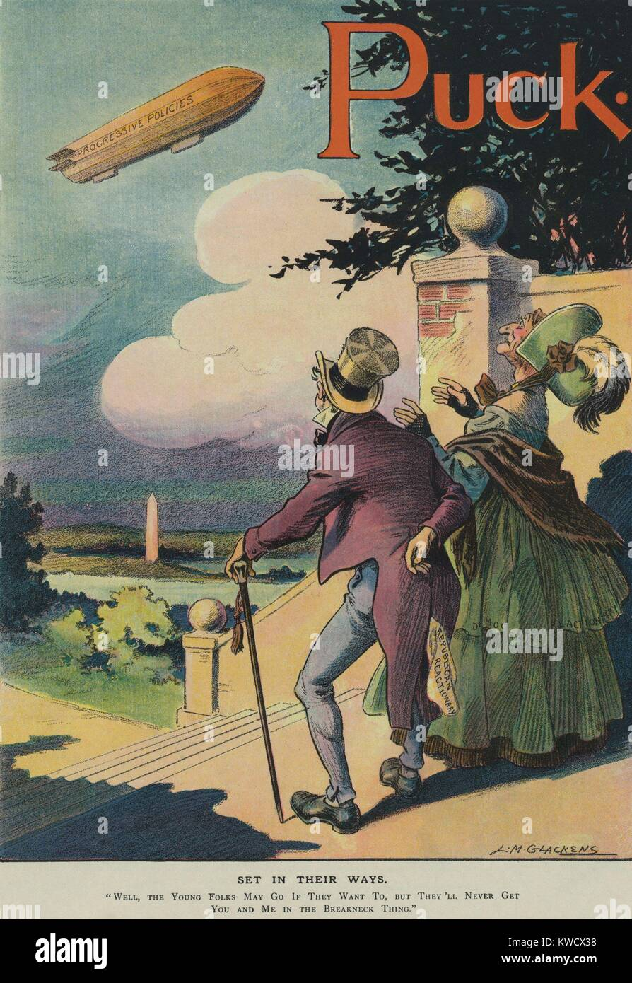 SET IN THEIR WAYS, a political cartoon about the Progressive Movement in the 1911. An elderly couple labeled Republican - Stock Image