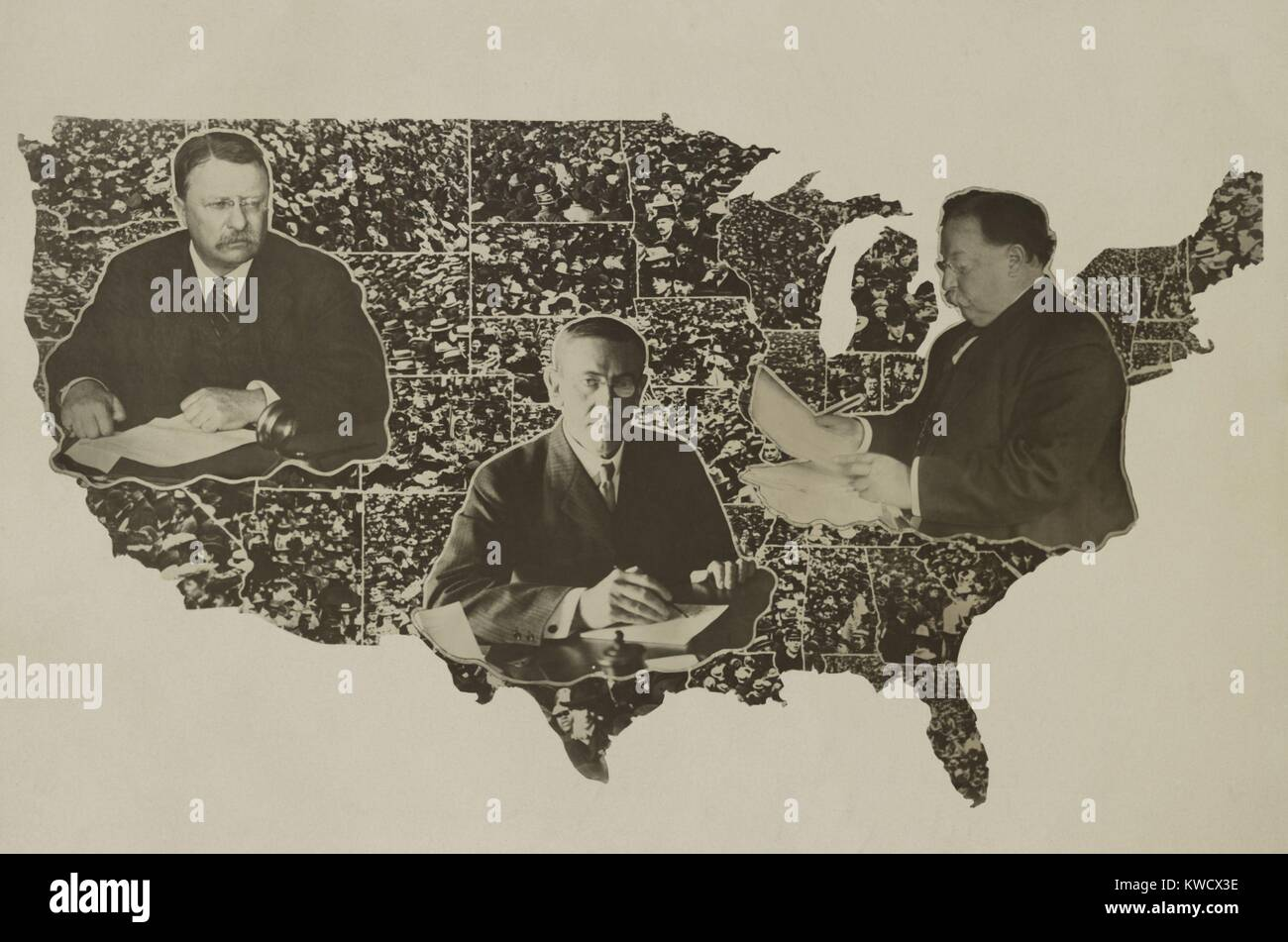 Portraits of Theodore Roosevelt, Woodrow Wilson, and William Taft, on a map of US in 1912. Feuding Roosevelt and - Stock Image