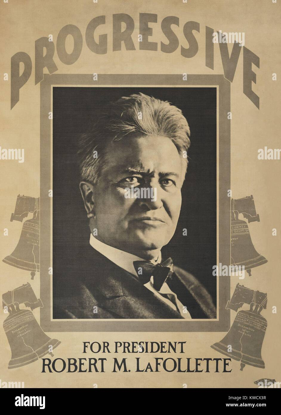 Robert M. La Follette, Progressive Party campaign poster for the 1924 Presidential election. (BSLOC 2017 2 141) Stock Photo