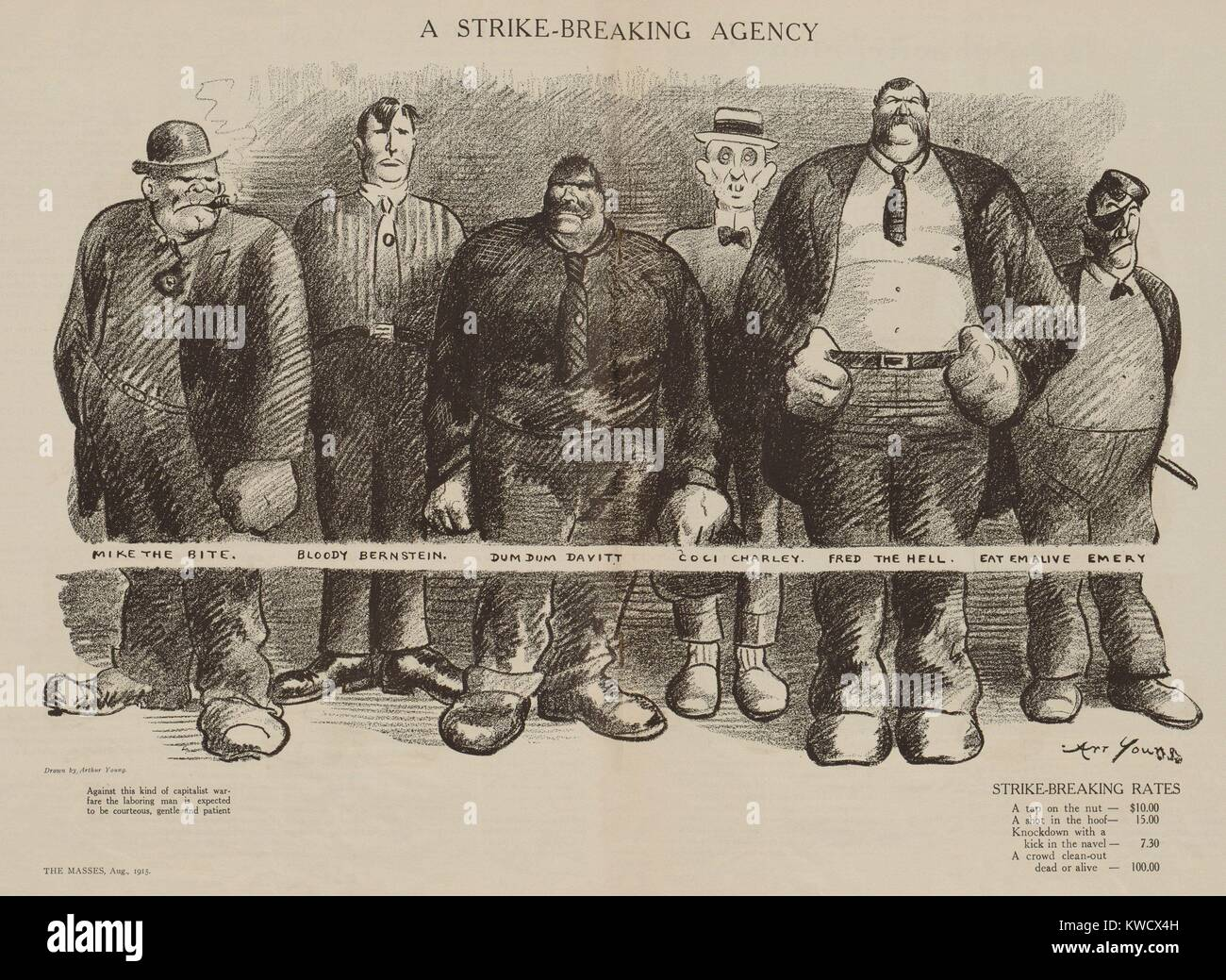 STRIKE BREAKING AGENCY, political cartoon in THE MASSES, August 1915. Arthur Young drawing depicts a group of thugs, - Stock Image
