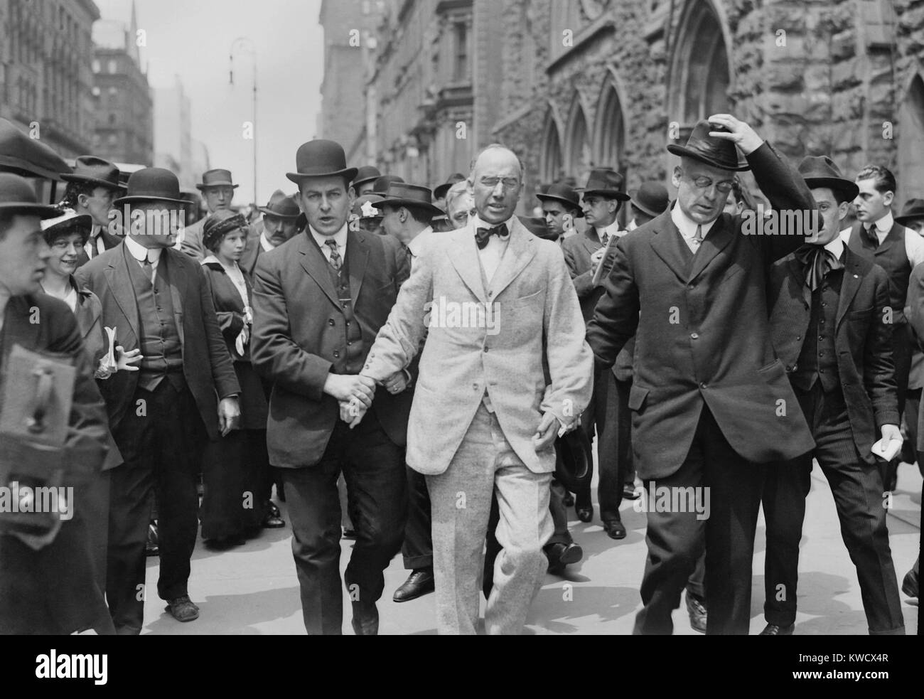 Bouck White arrested for disrupting a service at Calvary Baptist Church, May 10, 1914. He interrupted the service - Stock Image