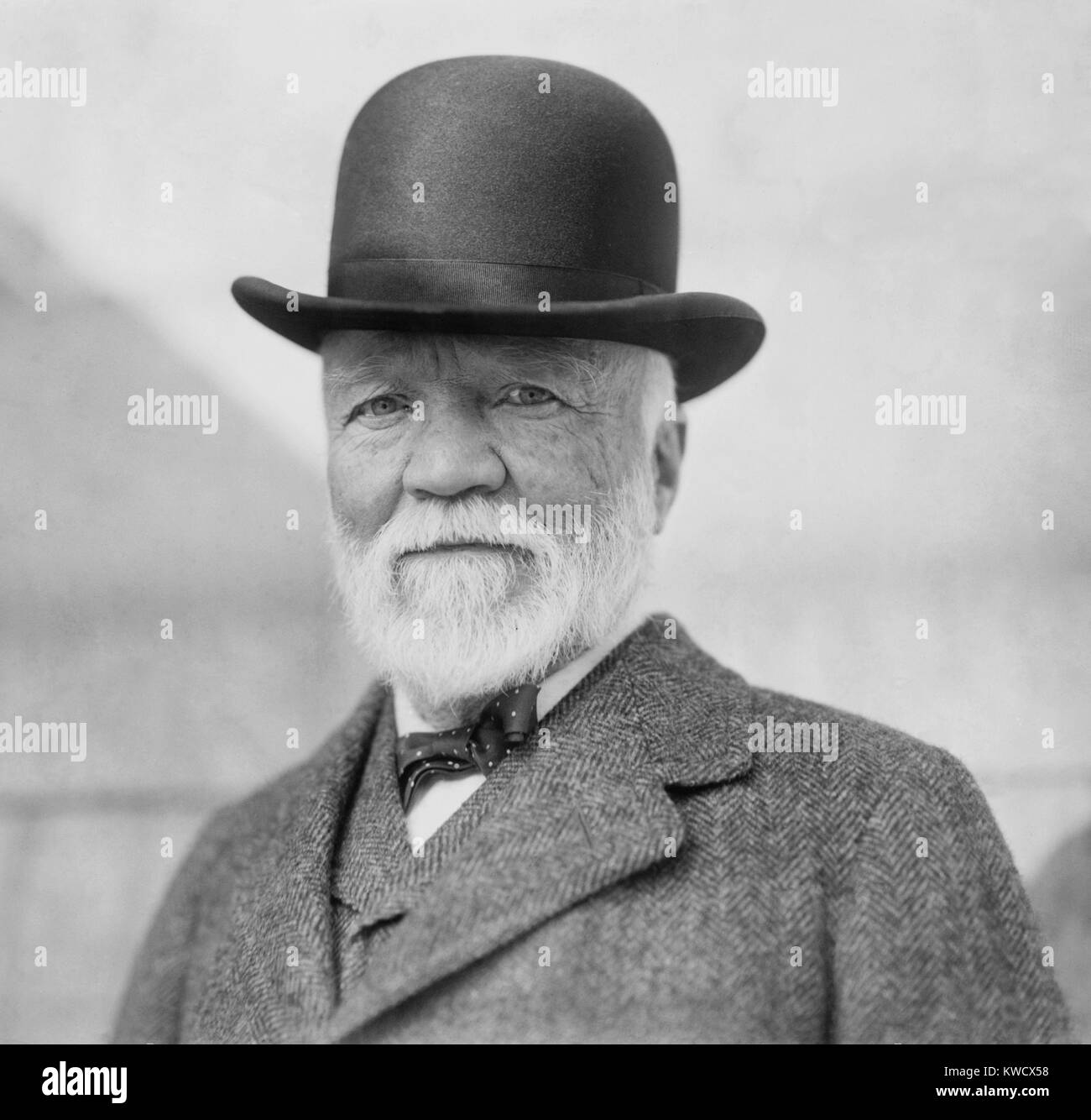Andrew Carnegie on return from his annual visit to Europe, NYC, Oct. 17, 1913. (BSLOC 2017 2 179) Stock Photo