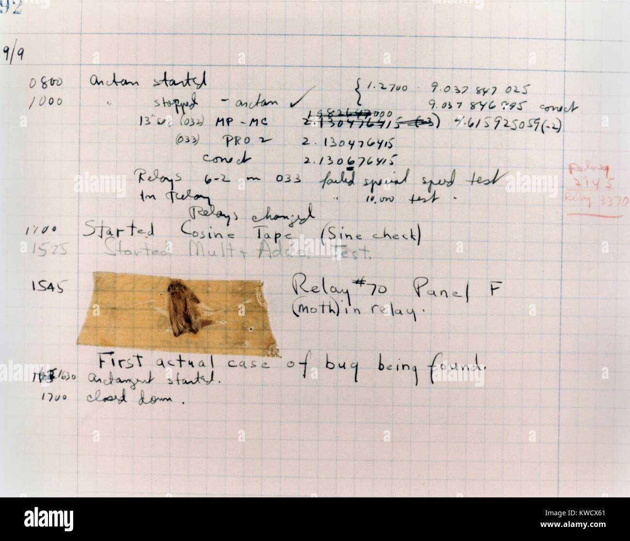 Technical service card reporting the first computer bug at Harvard University, Sept. 9, 1945. Taped to the record Stock Photo