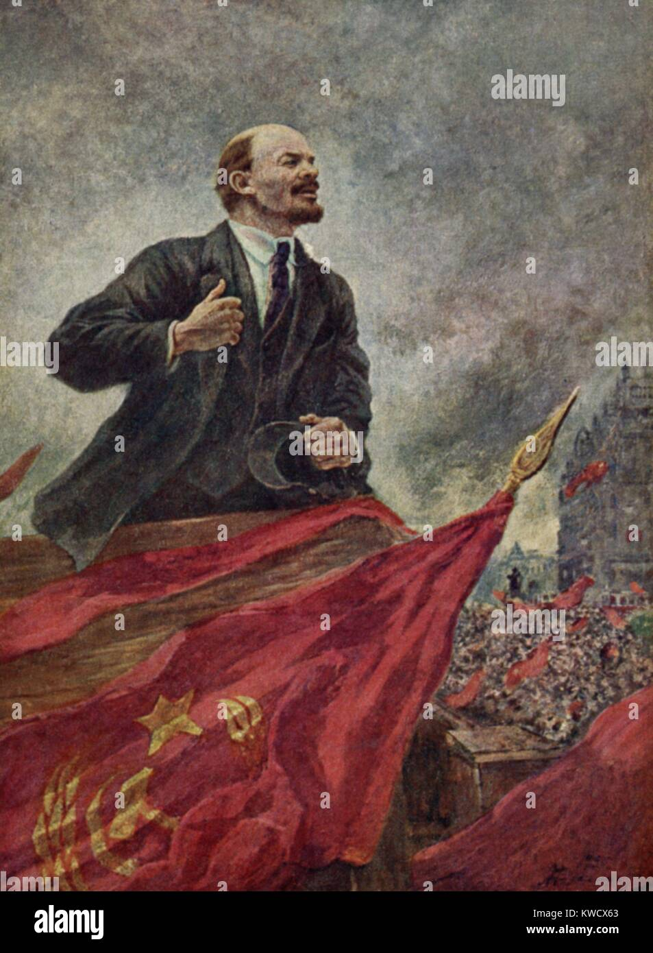 LENIN ON THE STAND, by Alexander Gerassimov, c. 1925-1940. Social-Realist painting of Lenin speaking. Gerassimov - Stock Image