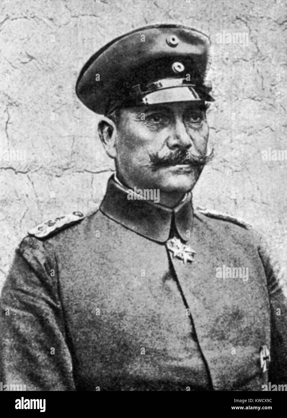 World War 1. German artillery genius, Oberst Bruchmueller, developed systematic firing of artillery, which contributed - Stock Image