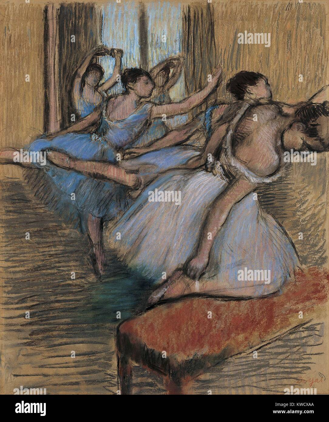The Dancers, by Edgar Degas, 1900, French impressionist drawing, pastel and charcoal on paper. Degas told art dealer - Stock Image