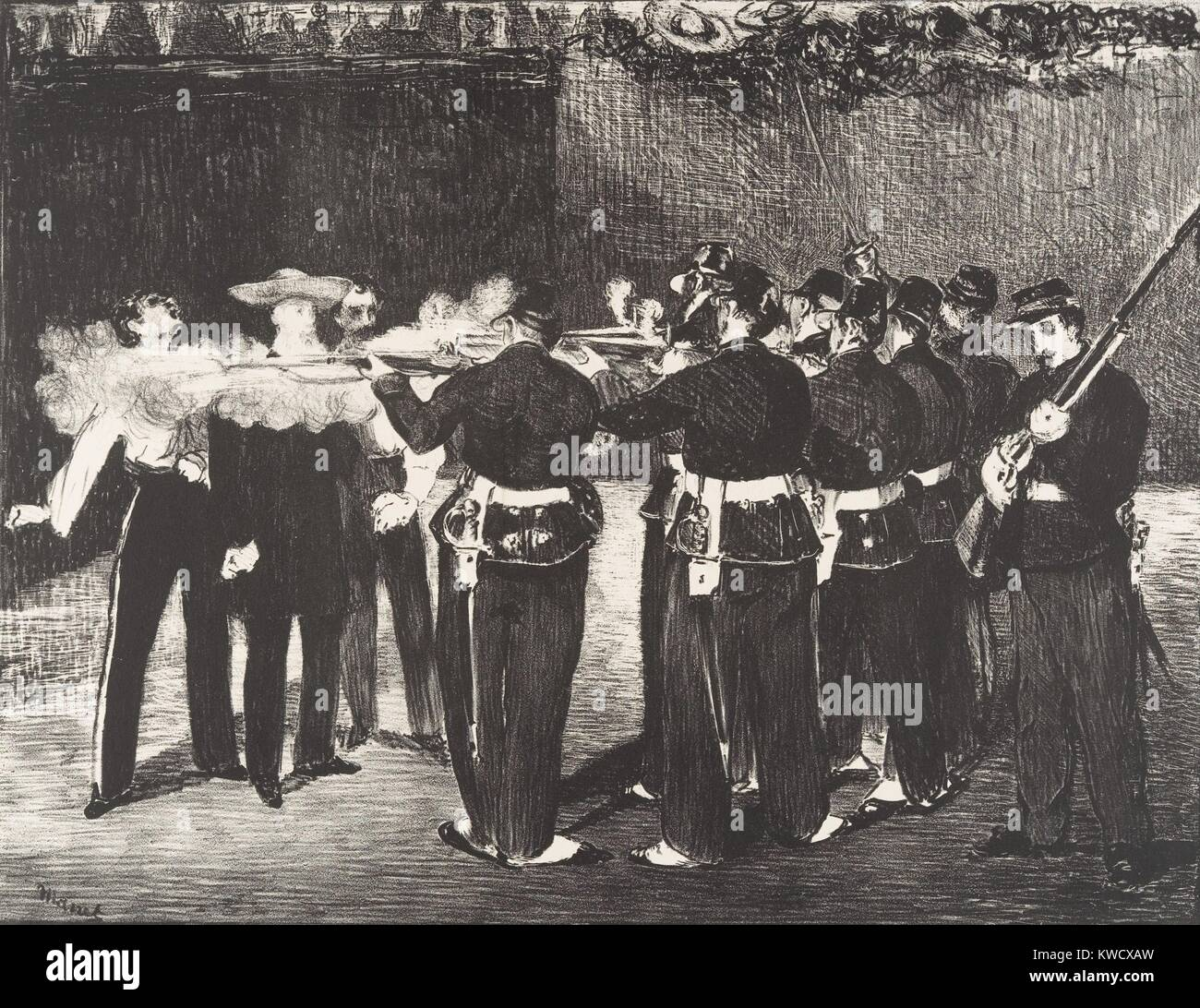 Execution of the Emperor Maximilian, by Edouard Manet, 1868, French Impressionist lithograph print. The Hapsburg - Stock Image