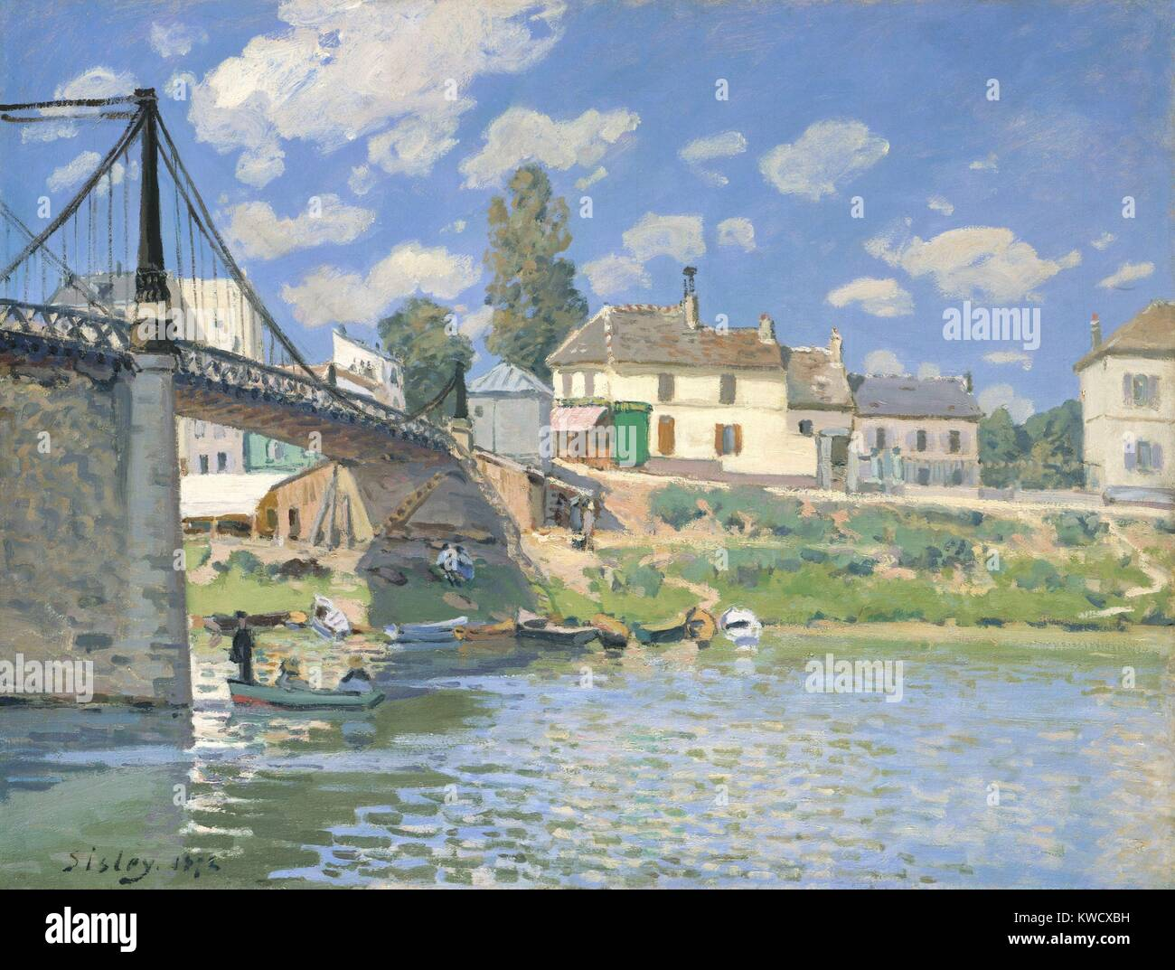 The Bridge at Villeneuve-la-Garenne, by Alfred Sisley, 1872, French impressionist oil painting. Sisley painted this - Stock Image