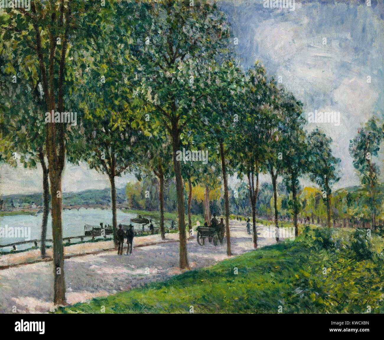 Alley of Chestnut Trees, by Alfred Sisley, 1878, French impressionist painting, oil on canvas. In Sevres, Sisley - Stock Image