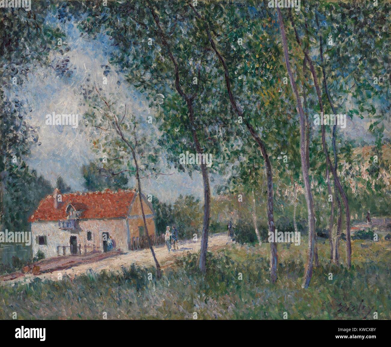 The Road from Moret to Saint-Mammes, by Alfred Sisley, 1883-85, French impressionist oil painting. Drawn to picturesque - Stock Image