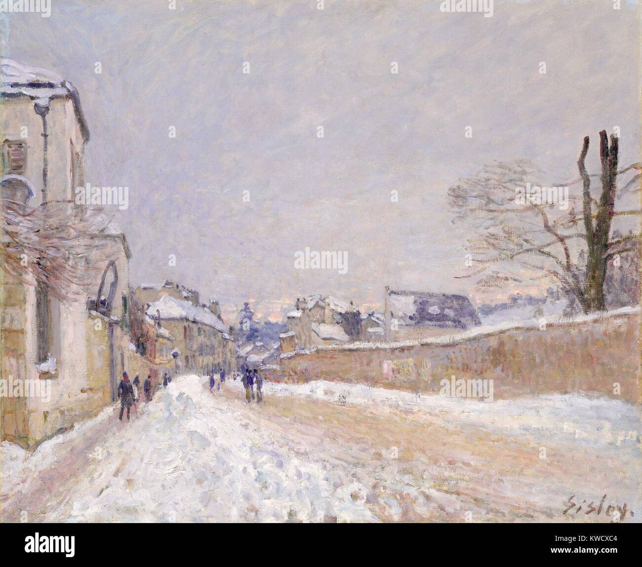 Rue Eugene Moussoir at Moret: Winter, by Alfred Sisley, 1891, French impressionist oil painting. Sisley painted - Stock Image
