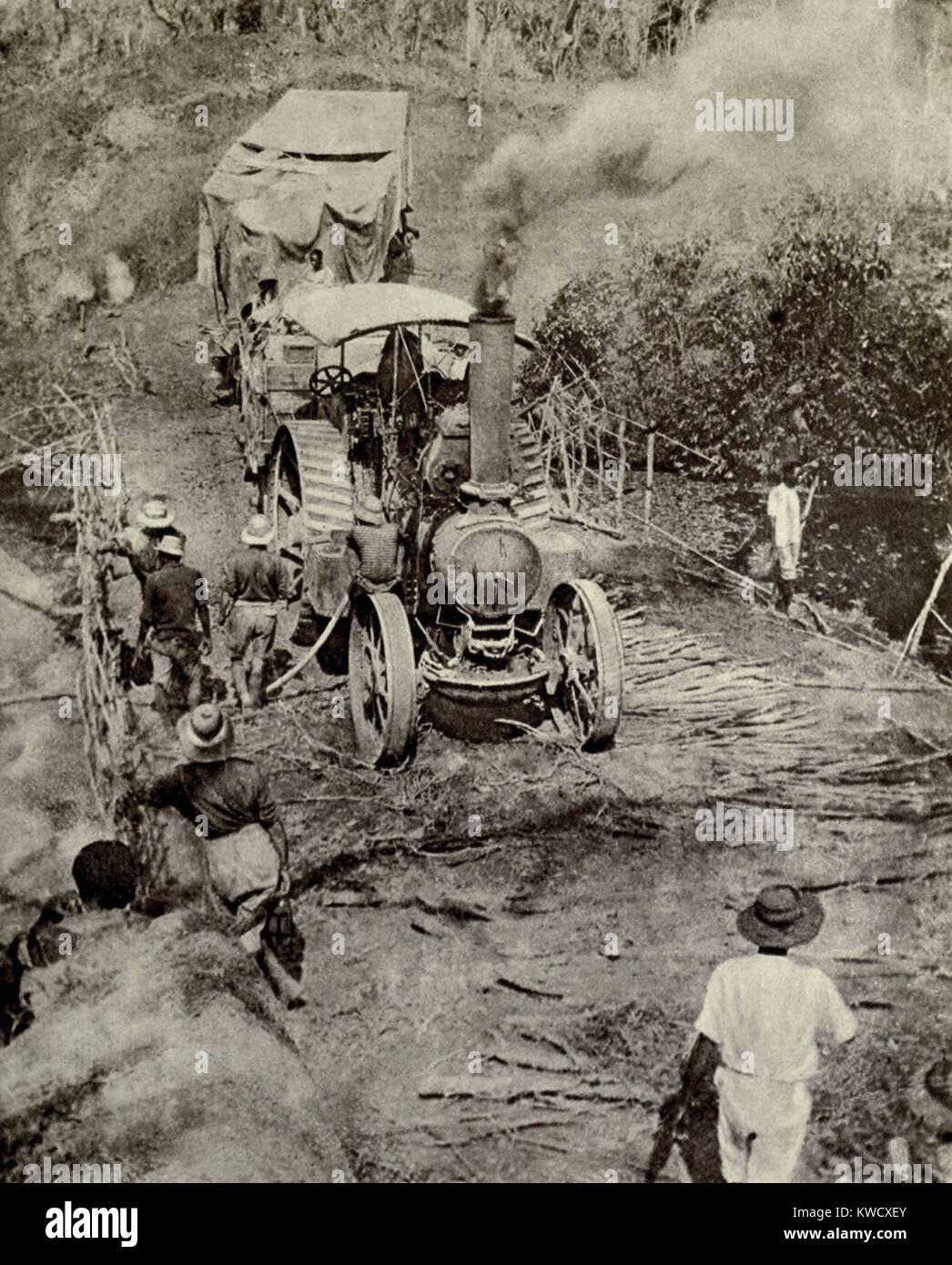 World War 1 in Africa. Tractor pulling an armed motor boat across a bridge on its way to Lake Tanganyika in Dec. - Stock Image