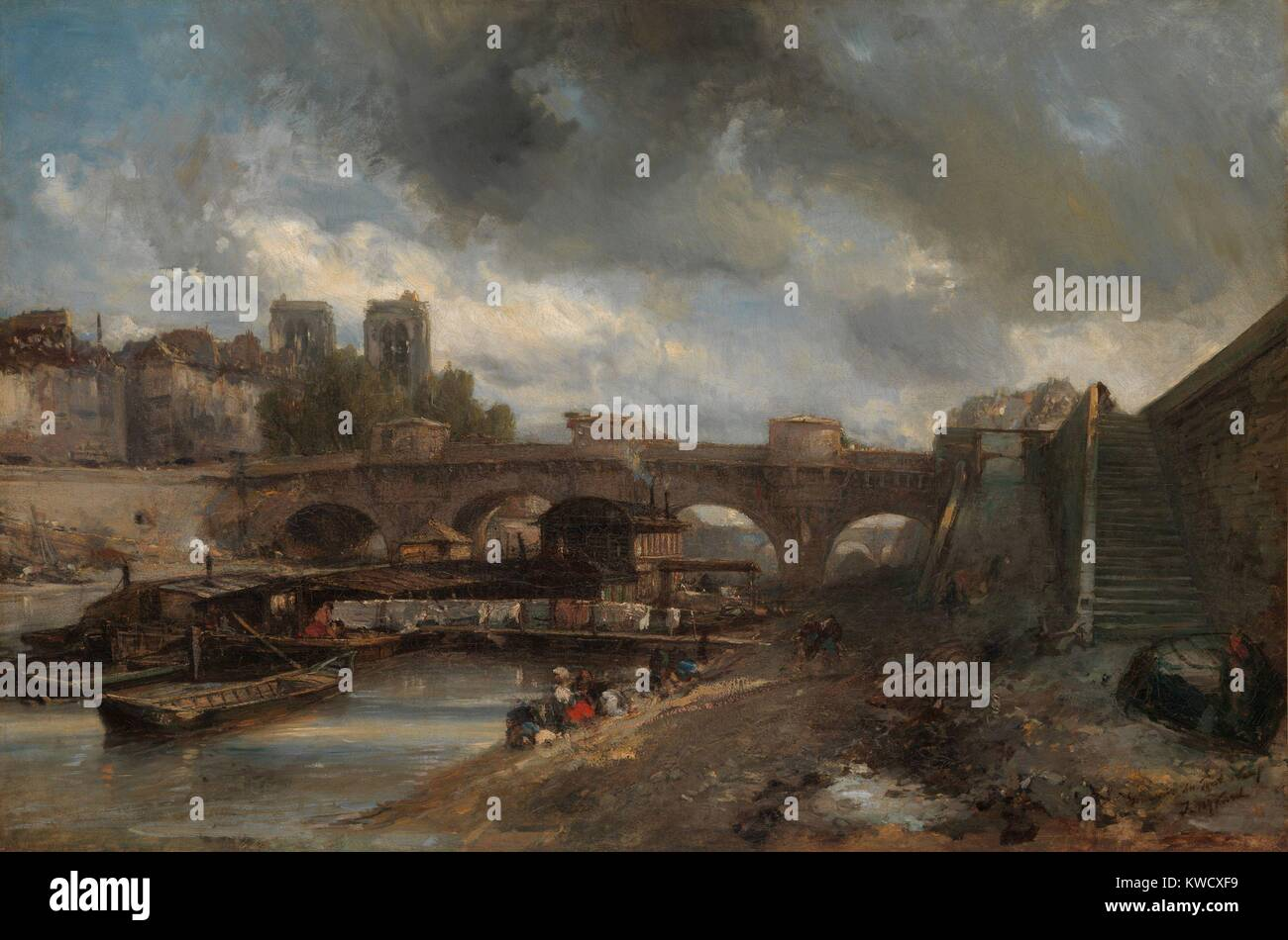 The Pont Neuf, by Johan Barthold Jongkind, 1849-50, Dutch realist painting, oil on canvas. His painterly open brushwork, - Stock Image
