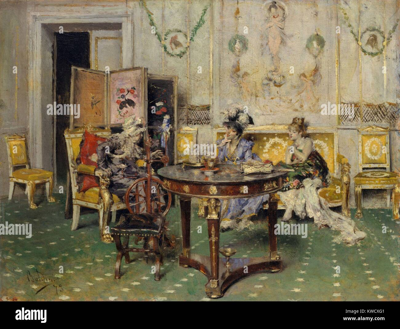 Gossip, by Giovanni Boldini, 1873, Italian, impressionistic painting, oil on wood. The light bright colors and brushwork - Stock Image