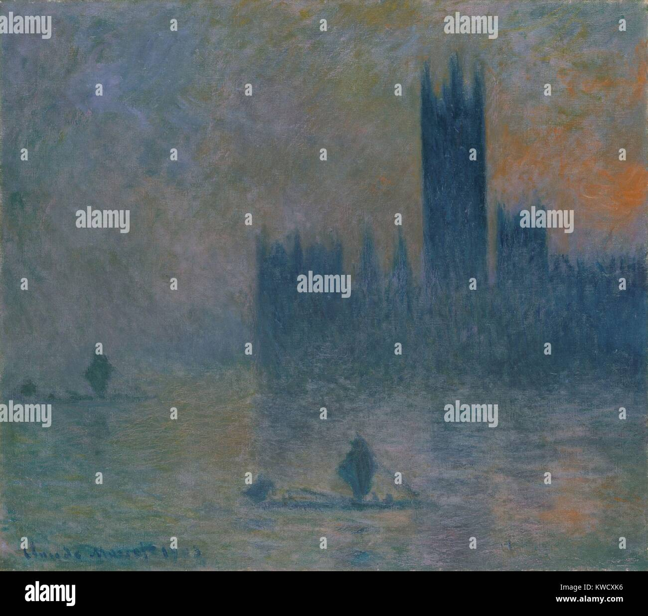 The Houses of Parliament (Effect of Fog), by Claude Monet, 1903–4, French impressionist oil painting. Between 1899 Stock Photo