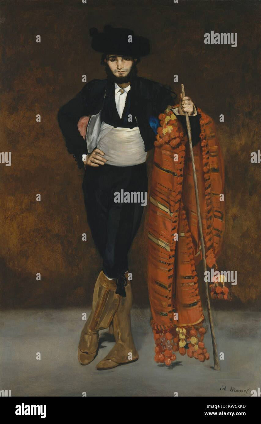 Young Man in the Costume of a Majo, by Edouard Manet, 1863, French impressionist oil painting. Manets younger brother - Stock Image