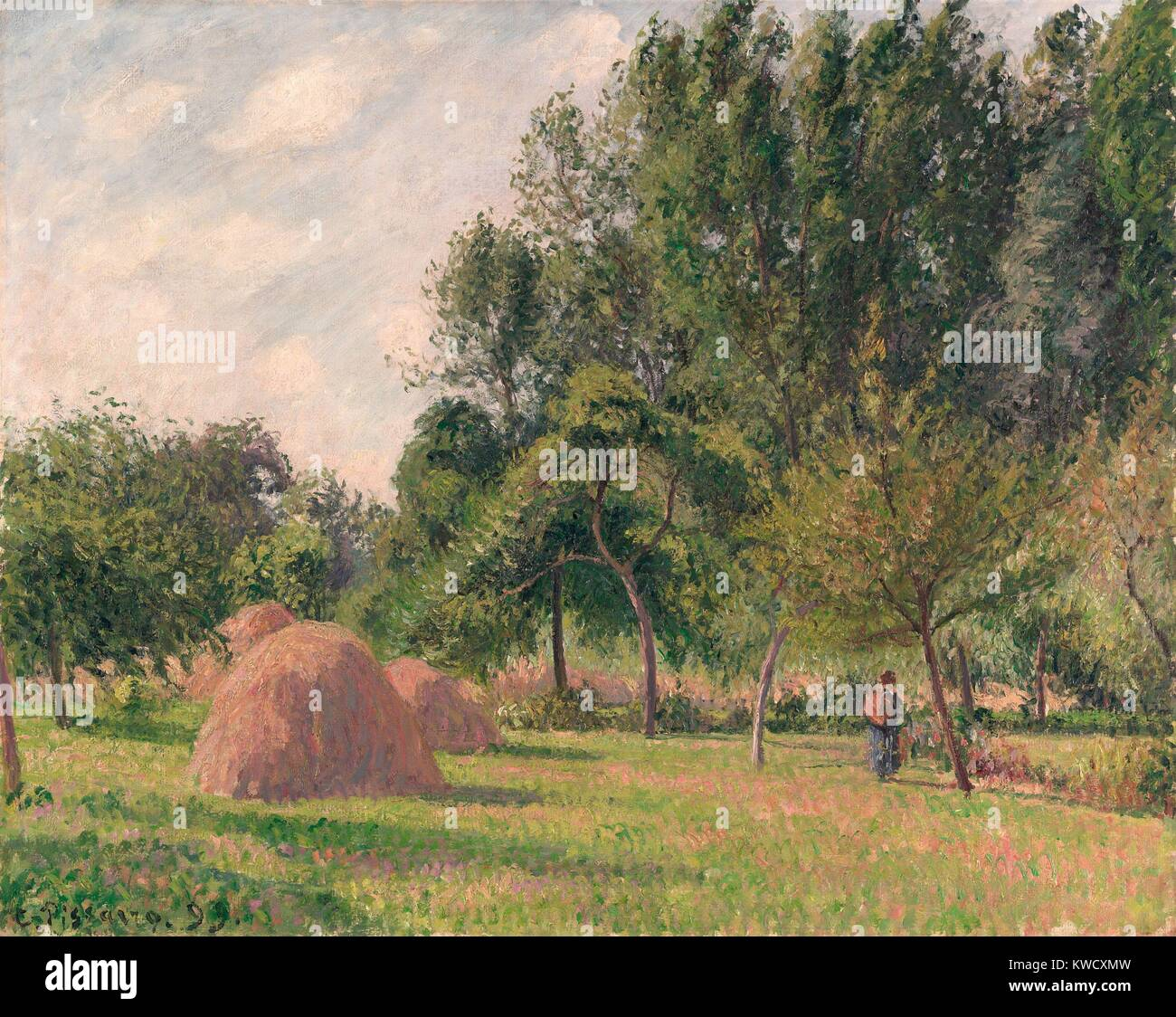 Haystacks, Morning, Eragny, by Camille Pissarro, 1899, French impressionist painting, oil on canvas. The artist Stock Photo