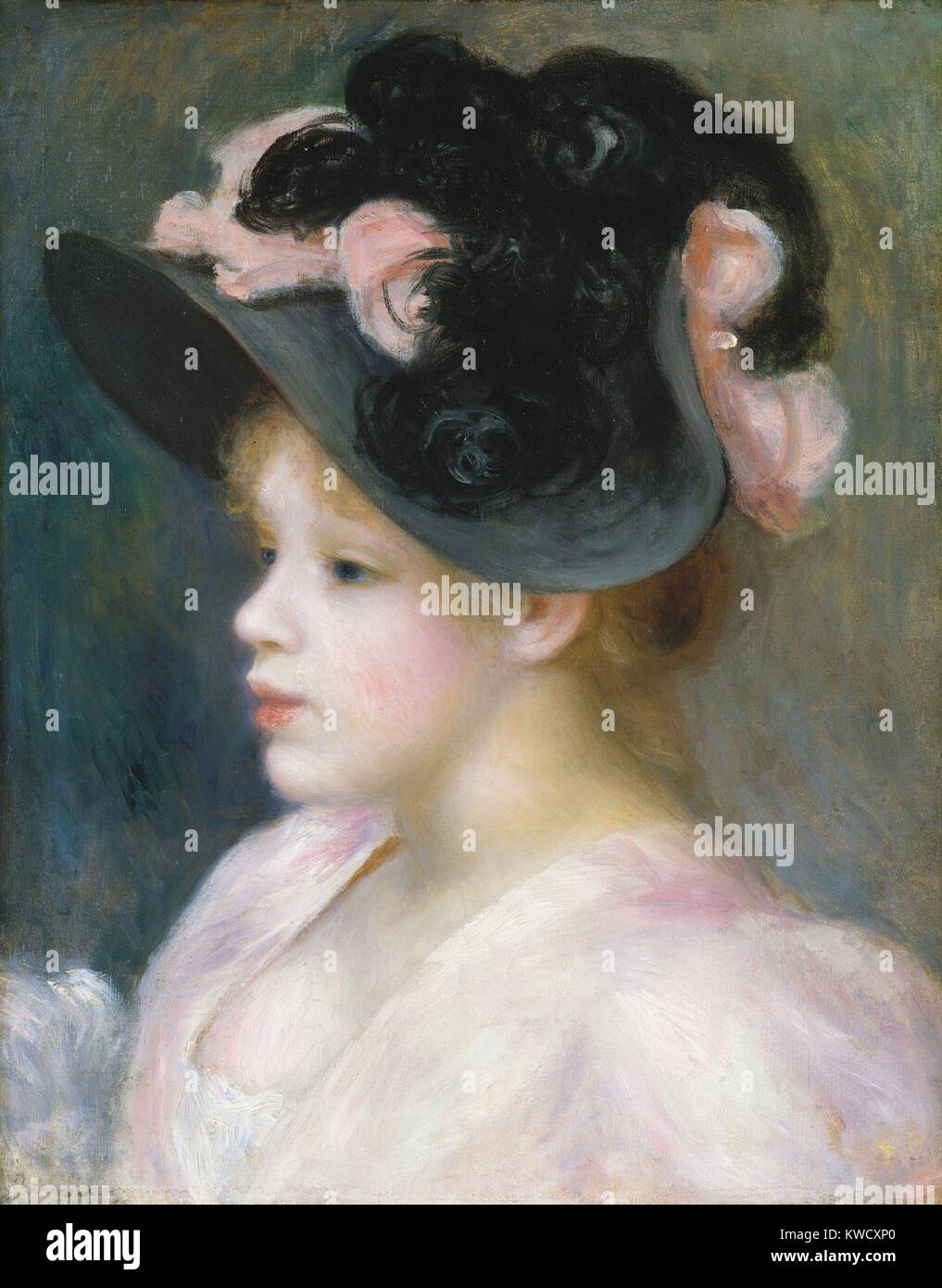 Young Girl in a Pink-and-Black Hat, by Auguste Renoir, 1891, French impressionist oil painting. Renoir painted many - Stock Image
