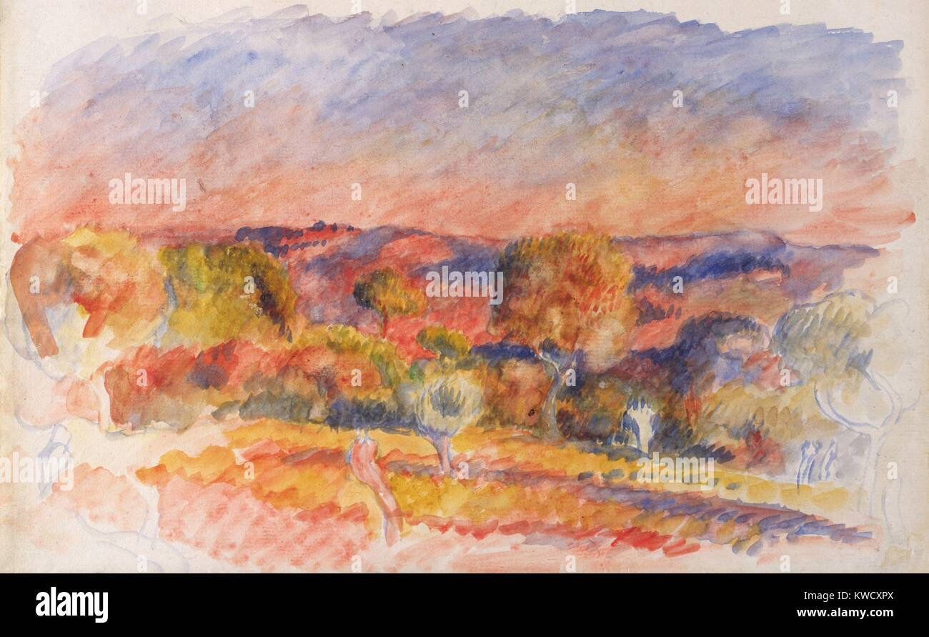 Landscape, by Auguste Renoir, 1889, French impressionist watercolor painting on paper. This Aix-en-Provence scene - Stock Image