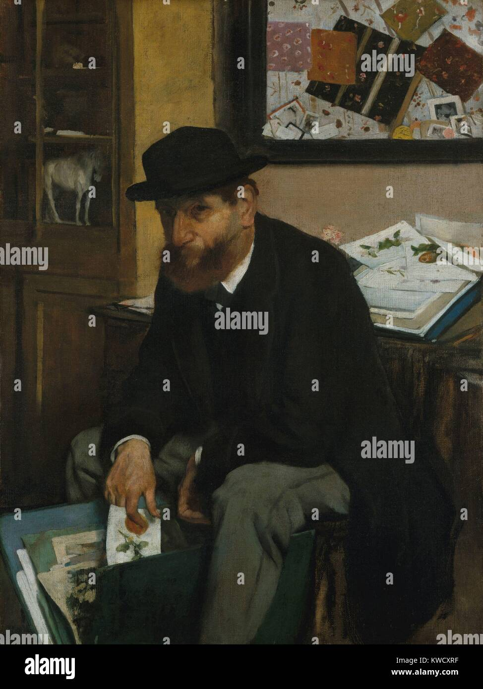 The Collector of Prints, by Edgar Degas, 1866, French impressionist painting, oil on canvas. Informally posed as - Stock Image